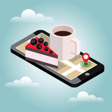 Isometric city. Food delivering. Mobile searching. Coffee and cake. Geo tracking. Map.Isometric city. Food delivering. Flat 3d vector isometric illustration Stock Images