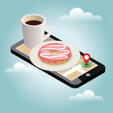 Isometric city. Food delivering. Mobile searching. Coffee and donut. Geo tracking. Map.Isometric city. Food delivering. Flat 3d vector isometric illustration Stock Image