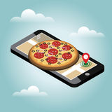 Isometric city. Food delivering. Pizza. Mobile searching. Geo tracking. Map.Isometric city. Food delivering. Royalty Free Stock Photos