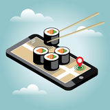 Isometric city. Food delivering. Sushi. Mobile searching. Geo tracking. Map.Isometric city. Food delivering. Flat 3d vector isometric illustration. Concept Royalty Free Stock Image