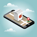 Isometric city. Food delivering. Wok. Mobile searching. Geo tracking. Map.Isometric city. Food delivering. Stock Photo