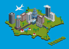 Isometric city on France map Royalty Free Stock Photo