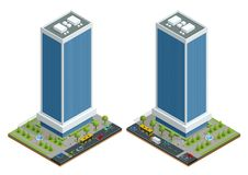 Isometric city houses composition with building and road isolated vector illustration. Collection of urban elements Stock Photos