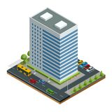 Isometric city houses composition with building and road isolated vector illustration. Collection of urban elements Stock Photography