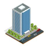 Isometric city houses composition with building and road isolated vector illustration. Collection of urban elements Royalty Free Stock Photo