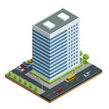 Isometric city houses composition with building and road isolated vector illustration. Collection of urban elements Stock Photo
