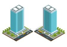 Isometric city houses composition with building and road isolated vector illustration. Collection of urban elements Royalty Free Stock Photography