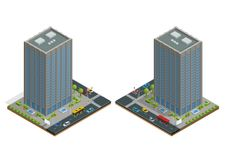 Isometric city houses composition with building and road isolated vector illustration. Collection of urban elements Stock Images