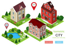 Isometric city houses with green yards, trees, benches and park with lake. Set of cute detailed buildings. Vector illustration. Royalty Free Stock Photos