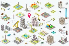 Isometric City Icon Set Royalty Free Stock Photos