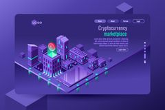 Isometric city illustration violet wallpaper. Isometric city illustration as symbol of electronic finance, cryptography and secure banking, this is a vector Royalty Free Stock Photo