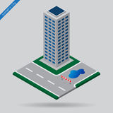 Isometric city - junction, detour and skyscraper. Isometric city - dotted line road, junction, detour sign board, puddle and skyscraper Stock Photo