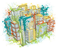 Isometric city landscape with abstract splashes in watercolor style. royalty free illustration