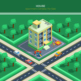 Isometric City Landscape With Apartment House Stock Images
