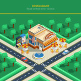 Isometric City Landscape With Restaurant Building Royalty Free Stock Photo