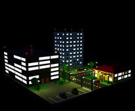 Isometric city landscape in retro voxel style. Night city landscape with three buildings apartment building, business center, and cafe, parking lots, cars, trees Stock Photography