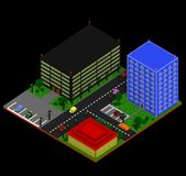 Isometric city landscape in retro voxel style. City landscape with three buildings apartment building, business center, and cafe, parking lots, cars, trees Royalty Free Stock Photography