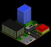 Isometric city landscape in retro voxel style. City landscape with three buildings apartment building, business center, and cafe, parking lots, cars, trees Stock Photo