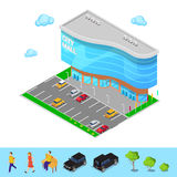 Isometric City Mall. Modern Shopping Center Building with Parking Zone. Vector Royalty Free Stock Photo