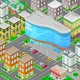 Isometric City Mall. Modern Shopping Center Building with Parking Zone. Vector Royalty Free Stock Photos