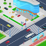 Isometric City Mall. Modern Shopping Center Building with Parking Zone Stock Photos