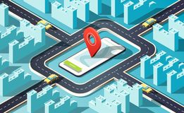 Isometric city with many buildings, streets, roads, cars and location pin. 3D vector illustration. stock illustration
