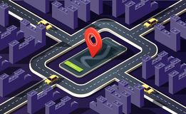 Isometric city with many buildings, streets, roads, cars and location pin on dark purple. 3D vector illustration. vector illustration