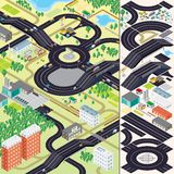 Isometric City Map. Cars, Roads, Houses. 3D Isometric City Map. Buildings, Vegetations, Cars, Roads and other Urban Objects and Elements Royalty Free Stock Photo