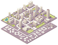 Isometric city map creation kit. Isometric set of the simplified buildings, road elements and plants for map creation