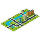Isometric city map. Royalty Free Stock Photography