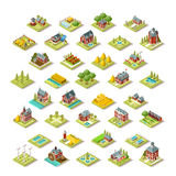 Isometric City Map Farm Building Icon Set Vector Illustration. Isometric farm house building stuff farming agriculture scene 3D icon set collection vector Stock Image