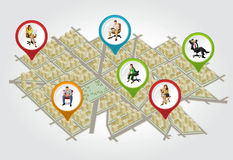 Isometric city map with people. Isometric city map with colorful pointers with people on chair. Vector arrow label Stock Photo