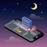 Isometric city. Mobile geo tracking. Map. City building and traffic. Geo positioning. Navigator. Moonlight night. Flat 3d vector isometric illustration. Concept Royalty Free Stock Photography