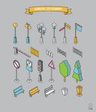 Isometric city and outdoor elements.Street elements icon set Stock Image
