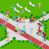 Isometric City Park with Bicycle Path. Active People Walking in Park. Vector Royalty Free Stock Images