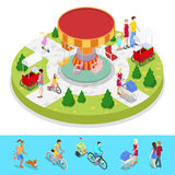 Isometric City Park Composition with Children and Amusement Carousel. Outdoor Activity. Vector flat 3d illustration Royalty Free Stock Photo