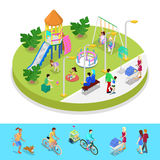Isometric City Park Composition with Children Playground and Walking People. Outdoor Activity Stock Photography
