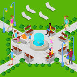 Isometric City Park with Fountain. Active People Walking in Park. Vector Royalty Free Stock Photography