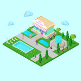 Isometric City Park with Fountain and Swimming Pool. Active People Walking in Park. Vector Stock Photos