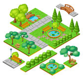 Isometric City Park Landscape Elements Set Royalty Free Stock Photos