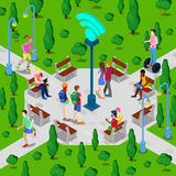 Isometric City Park with Wi-Fi Hotspot. Active People Using Wireless Internet Connection Outdoor. Vector Stock Photos
