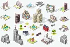 Isometric City Quality Vector Set Stock Image