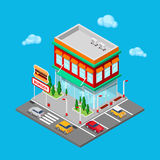 Isometric City Restaurant. Fast Food Cafe with Parking Zone. Vector Royalty Free Stock Photography