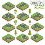 Isometric City Road elementy Ustawiający z drzewami ilustracji