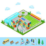 Isometric City. School Building with Swimming Pool and Football Ground Royalty Free Stock Photos