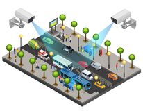 Isometric City Security System Concept vector illustration
