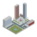 Isometric city with skyscrapers, buildings, public park and store. Downtown and suburbs. Vector illustration, isolated royalty free illustration