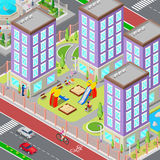 Isometric City Sleeping Dormitory Area. Modern Yard with Houses and Playground. Vector Royalty Free Stock Photo