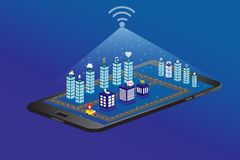 Isometric city with smart phone 5G royalty free illustration
