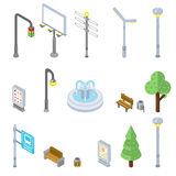Isometric city street icons. Vector 3d urban objects Royalty Free Stock Photography